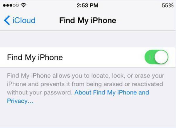 關閉從設備查找我的iPhone