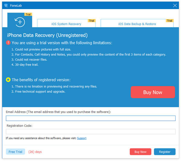 iPhone Data Recovery Registration