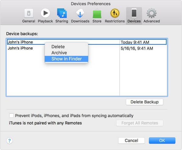 Show iTunes Backup in Finder