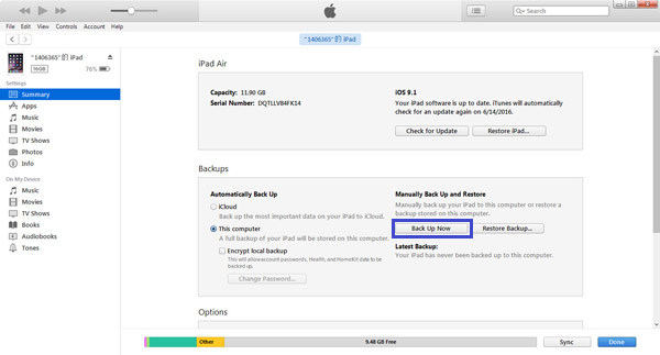 Backup di iTunes iPad