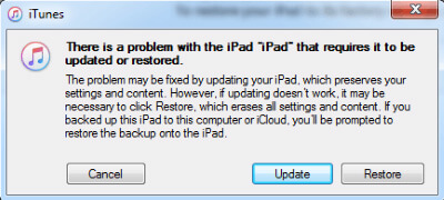 iTunes Message for iPad Recovery Mode