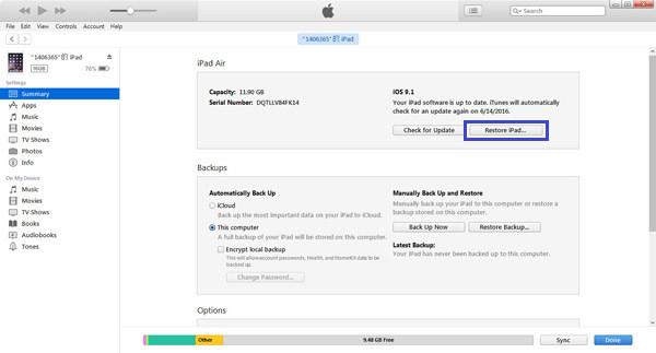 Ripristina iPad in iTunes