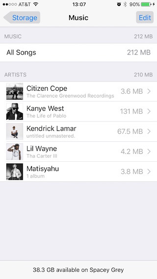 Controlla ed elimina Apple Music per rimuovere altri dati su iPhone