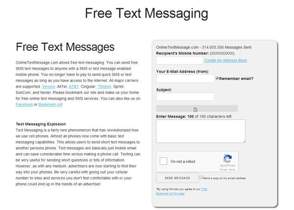 Messaggio di testo online