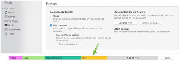 Znajdź inne dane na moim iPhonie z iTunes