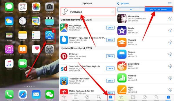 Odzyskaj usunięte aplikacje za pośrednictwem Apple Store