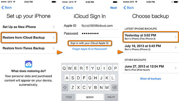 Restore from iCloud Backup on iOS Device