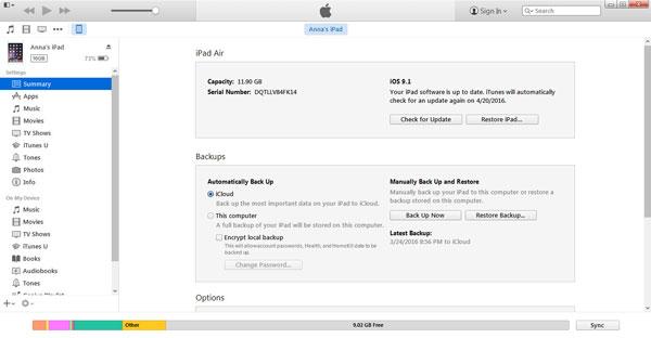 Επαναφορά φωτογραφιών από το iTunes