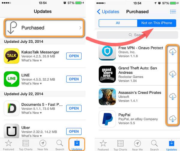 Ripristina l'app acquistata sul dispositivo iOS