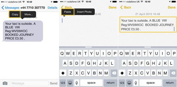 Salva messaggi di testo in Note
