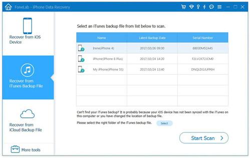 Scegli Ripristina dalla modalità file di backup di iTunes