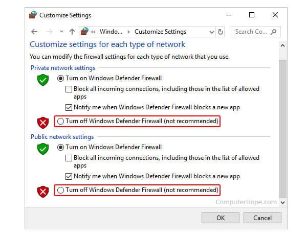 Vypněte bránu Defender Firewall