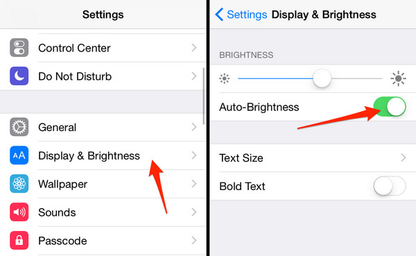 Schakel automatische helderheid in op de iPhone