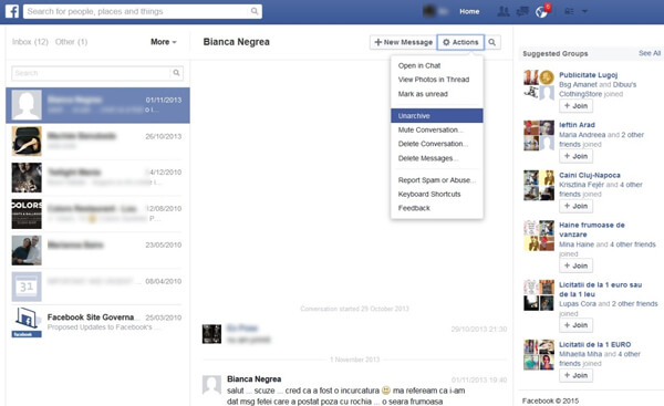 Unarchive Facebook Messages