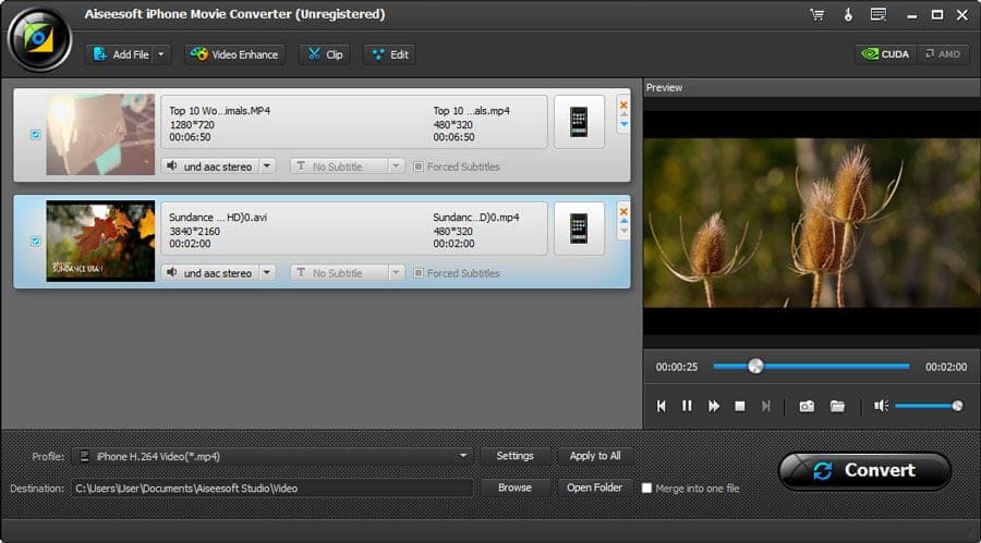 Click to view Aiseesoft iPhone Video Converter screenshots