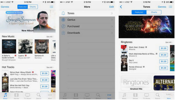 where to find purchased ringtones on iphone