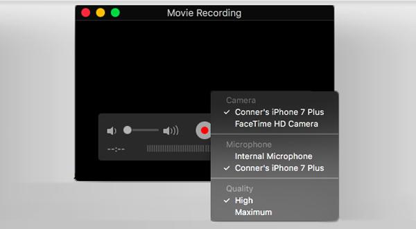 Registra schermo iPhone con QuickTime Player