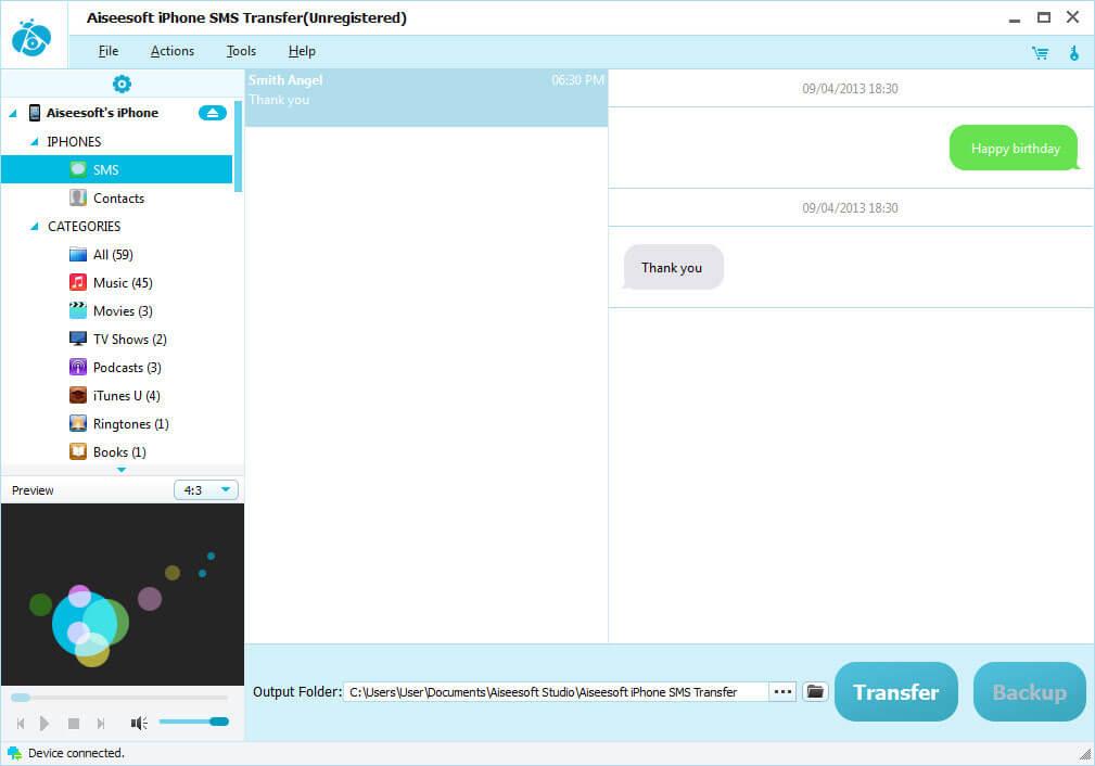 Aiseesoft iPhone SMS Transfer Screen shot
