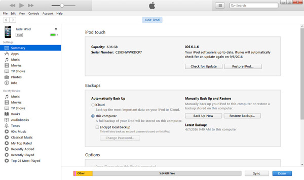 Collega l'iPod a iTunes