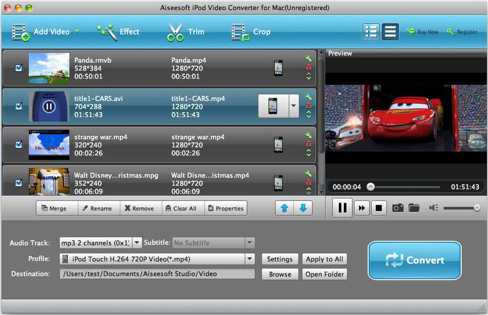 Aiseesoft iPod Video Converter for Mac screenshot