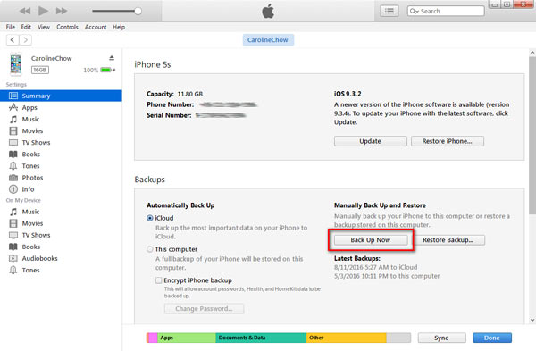 Esegui il backup del disco rigido esterno da iPhone a iTunes