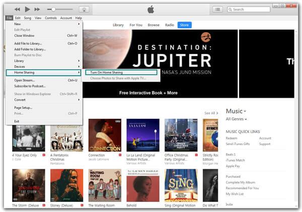 Attiva Condivisione in famiglia di iTunes