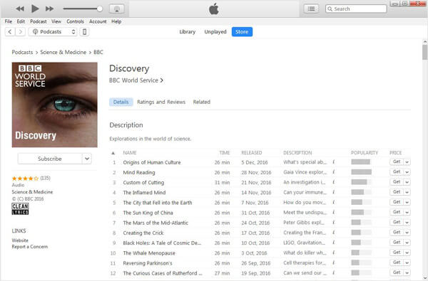 iTunes Podcast Store