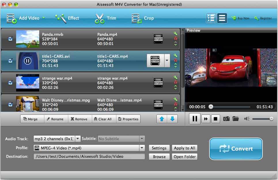 Aiseesoft M4V Converter for Mac full screenshot