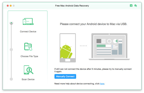 Collega il dispositivo Android al recupero dati Android Mac