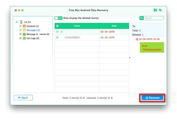 Scegli i file dettagliati da recuperare
