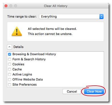 Cancella la cronologia di Firefox su Mac