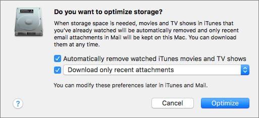 Ottimizza lo spazio di archiviazione