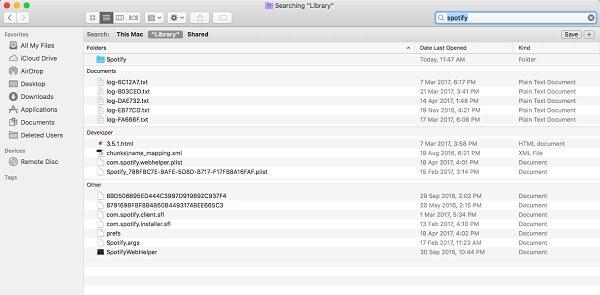 Elimina i file associati di Spotify per Mac