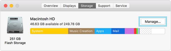 Διαχείριση κουμπιού στο Mac Storage