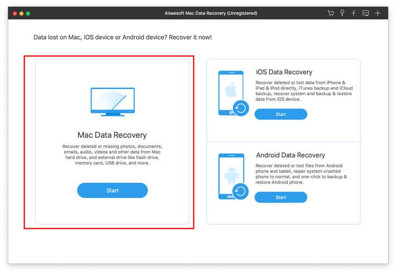 Διεπαφή αποκατάστασης δεδομένων Mac