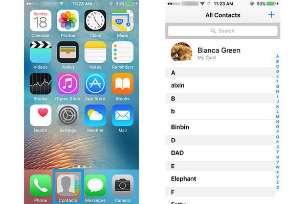 Scegli Target iPhone Contact