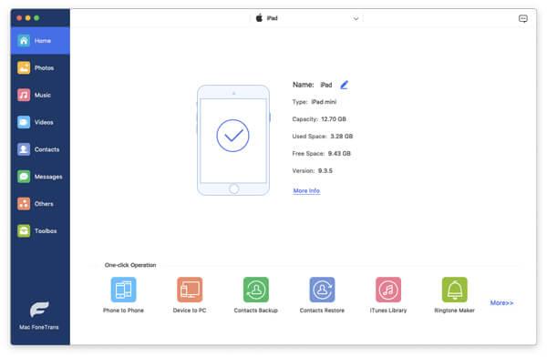 Abra o FoneTrans e conecte seu iPad ao Mac