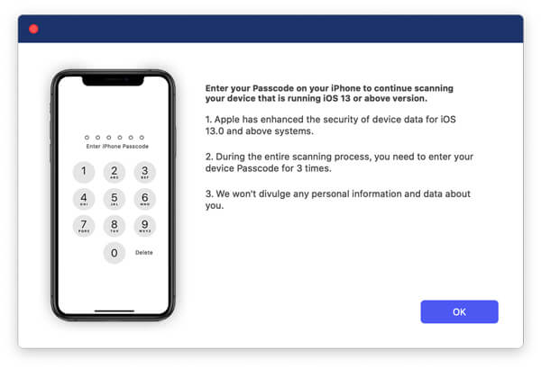 Inserisci la password dell'iPhone