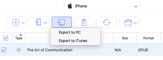 Export iPhone ePub do Mac
