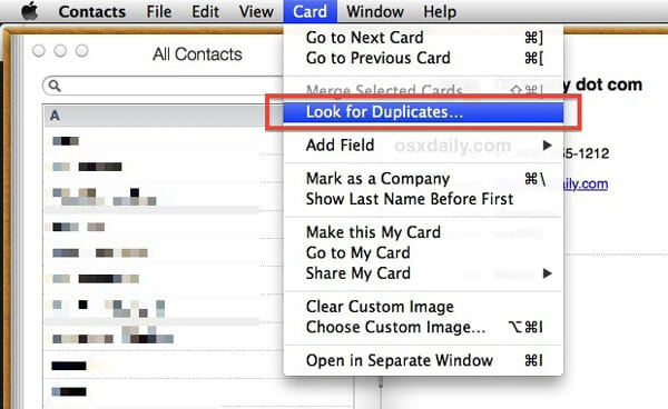 Look for iPhone Duplicate Contacts on Mac