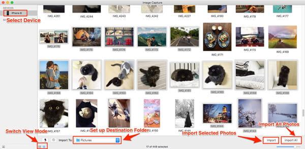 Importuj zdjęcia z iPhone'a na Maca za pomocą Image Capture