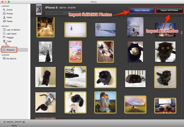 Importuj zdjęcia z iPhone'a na Maca za pomocą iPhoto