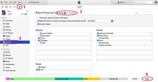 Trasferisci le foto dell'iPad sul Mac con iTunes