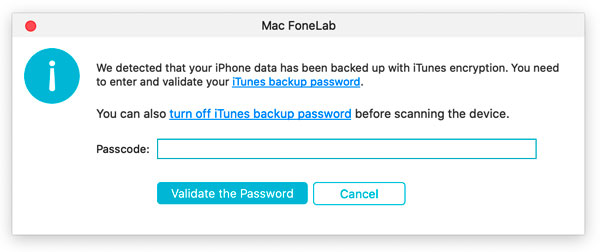 Enter iTunes Backup Password