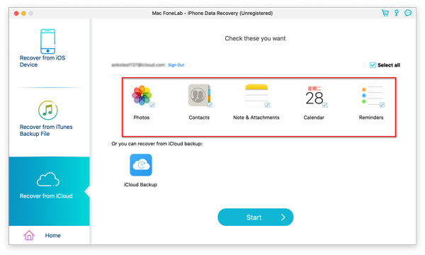 Fonelab Select Data Type from iCloud for Scanning