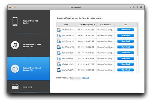 Πρόσβαση στο iCloud για εξαγωγή αρχείων iPhone / iPad / iPod σε Mac