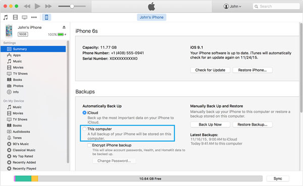Sincronizza iPhone su Mac tramite iTunes
