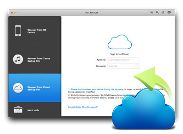 Restore data from iCloud backup files