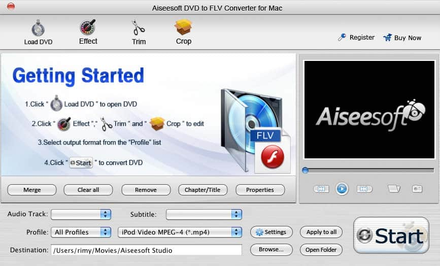 Aiseesoft DVD to FLV Converter for Mac Screen shot