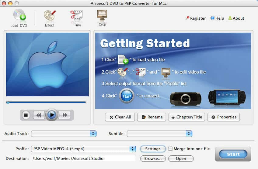 easy to use Mac DVD to PSP Converter
